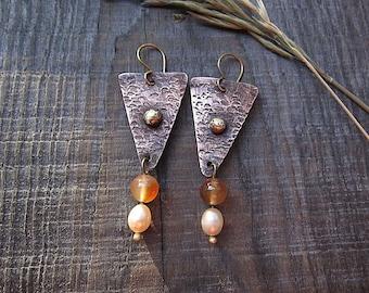 Agate and Pearl Earrings, Tribal Earrings, Ethnic Earrings, Mixed Metal Earrings, Dangle Earrings, Rustic Earrings, Boho Earrings