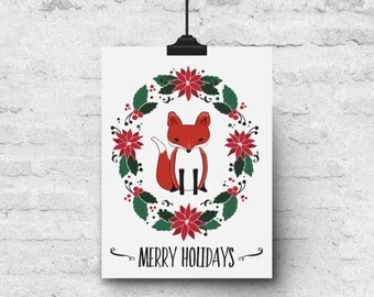 Merry Holidays, Fox & Poinsettia Illustration - Holiday Greeting Card