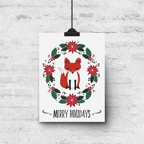 Merry Holidays, Fox & Poinsettia Illustration - Holiday Greeting Card