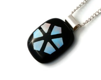 Smart Geometric Pattern on Black Fused Glass Pendant - Fused Glass Jewellery,Glass Necklace,Glass Jewelry,Sterling Silver Bail,Gift for Her