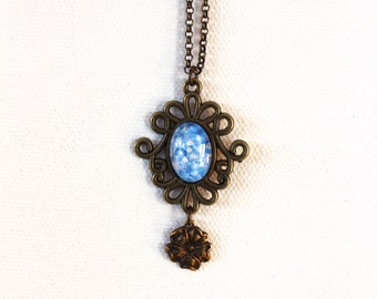 Blue Hydrangea Flower Floral Necklace Antique Brass Finish Pendant Necklace with Flower Charm