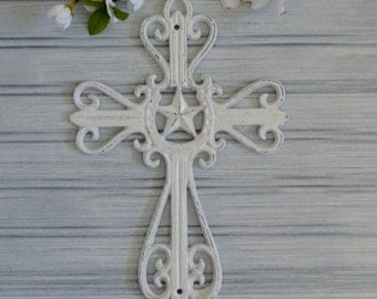 Western Cross. Cross. Crucifix. Wall Decor. Religious Decor. Metal Wall Decor. Christian Decor. Western Decor. Texas Star Decor.  Star Cross