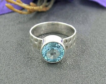 Swiss Blue Topaz Ring, Designer Ring, December Birthstone Ring, 925 Sterling Silver, Bezel Set Ring Size 7 ,Statement Ring Jewelry, R/36/141