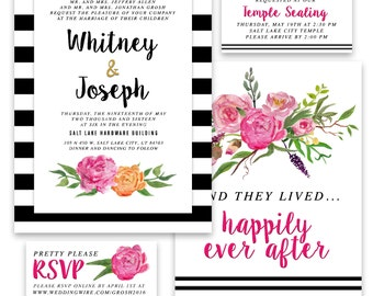 Floral and Stripe Wedding Invitation Package