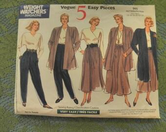 Womens JACKET, TOP, SKIRT & Pants w/ Pockets .. Sz 14-16-18-20-22-24  ..Uncut  980 Vogue Sewing Pattern
