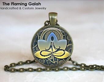 YELLOW LOTUS FLOWER Pendant • Namaste • Yoga Gift • Om Symbol • Buddha  • Hindi BoHo • Gift Under 20 • Made in Australia (P0371)