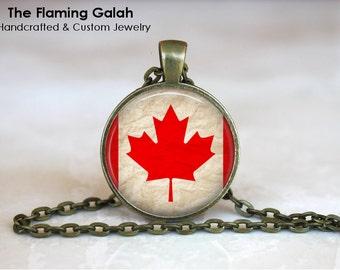 CANADIAN Flag Pendant • Vintage Canada Flag • Maple Leaf Flag • Canadian Maple Leaf • Gift Under 20 • Made in Australia (P0417)