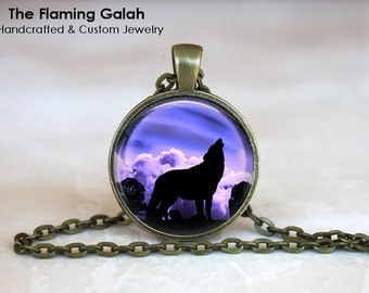 HOWLING WOLF in the Purple MOONLIGHT Pendant • Wolf Silhouette • Gift Under 20 • Made in Australia (P1120)