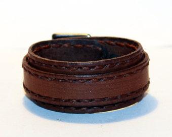 Brown Leather Cuff! Brown Rocker Bracelet! Great Gift! Brown Cuff! Brown bracelet!
