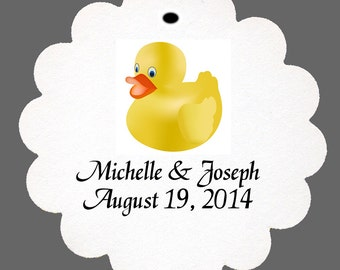 24 Personalized Rubber Duckie Favor Scalloped Tags Party Favors