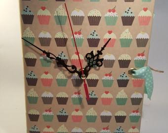 Vintage Book Clock - Cupcakes
