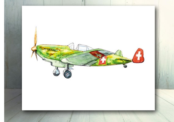 Vintage Airplane Decor Military Airplane Boys Nursery Wall Art