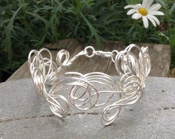 Silver Organic Cuff.  Wire Bracelet