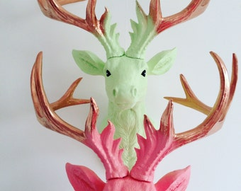 LARGE Unique Faux Taxidermy Stag Deer Head 'PASTEL BLING'