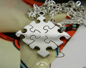 FREE SHIPPING Jigsaw Puzzle Necklace Pendant (steel)