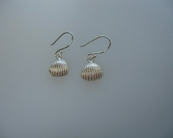 Sterling silver sand cast shell earrings