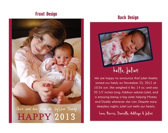 NEW YEARS PHOTO holiday card, Christmas Card, Customized holiday photo card, Birth Announcement Holiday Card