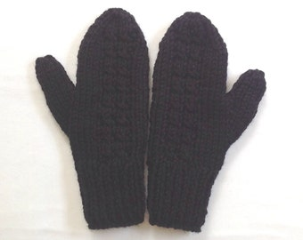Wool mix mittens - Womens black mittens - Knit black mittens - Womens accessories