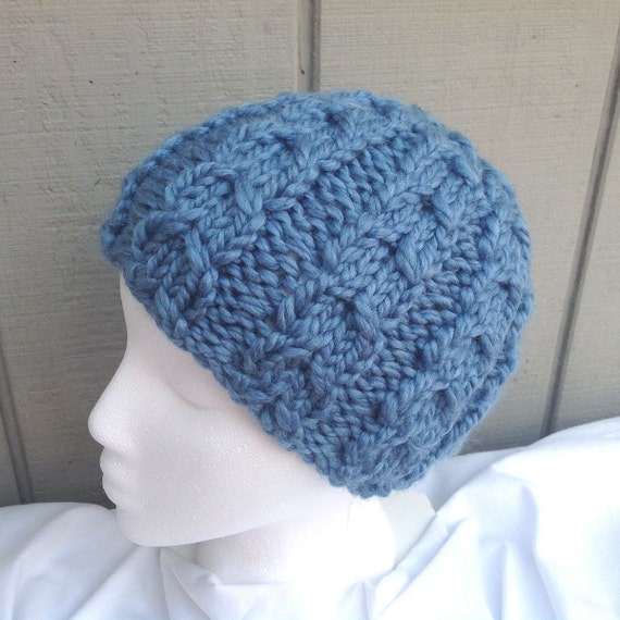 Womens blue beanie Chunky knit beanie Cable knit hat