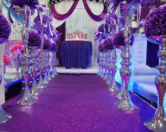 Purple Glitter Leather Fabric For Wedding Aisle Runner,Stage Runner,Width 3/3.5/4/4.5 feet,Sold By 15 feet Or Customised Length