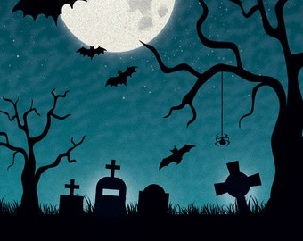 3x4 FabVinyl Haunted Graveyard Background - FabVinyl 3x4ft (FV9088)