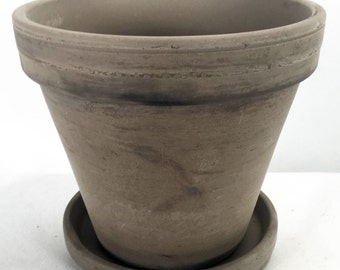 "6"" Basalt Clay Pot with Saucer  - Great for Plants and Crafts"