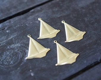 Brass Sailboat Charm Stampings, 4pcs