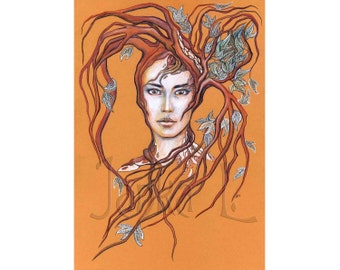 Original illustration - Lady Tree, fantasy illustration, nature, signed illustration