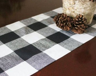 Black and White Check Table Runner