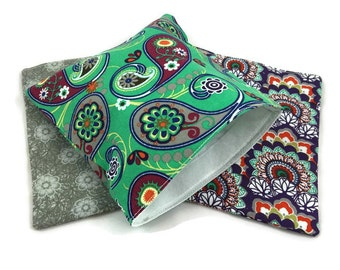 Reusable Snack Bags Lunch Baggies and Sandwich Bags in Pretty Paisley