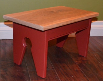 Red Foot Stool / Step Stool / Kids seat with Cherry top -- Many Colors and Wood Choices Available