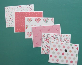 Note cards-set of 6,Blank cards-heart cards, stationery sets,Valentine cards-Thank you cards,assorted greeting cards,handmade/homemade cards