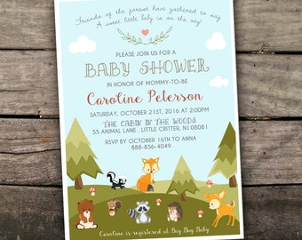 10% OFF Printed or Digital Woodland Baby Shower Invitation Forest Baby Shower Invitation Fall Baby Shower Animals Baby Shower Invitation