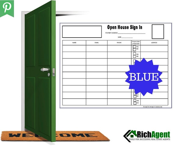 Open House Sign In Sheet Blue Real Estate Forms Open