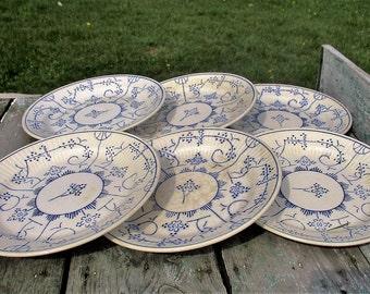 6 Vintage Dessert Plates Boch Copenhague Kopenhagen Blue White Lovely 60s