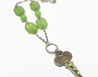 Green Dream Key Necklace, Key Charm Necklace, Dream Charm Necklace, Word Jewelry, Inspiration Necklace