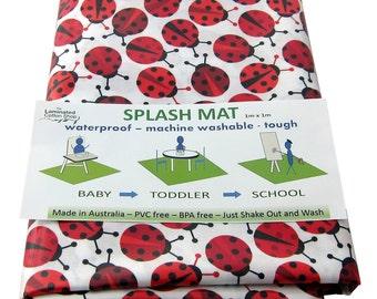 Under Highchair Mat / Splash Mat/ Waterproof art mat  Ladybirds