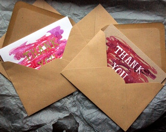 1 x brown card, 100% recycled and handmade Thank You cards