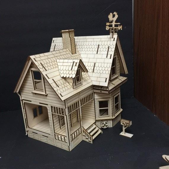 Disneys up house 3d wood puzzle dollhouse by birdswoodshack for Model house movie