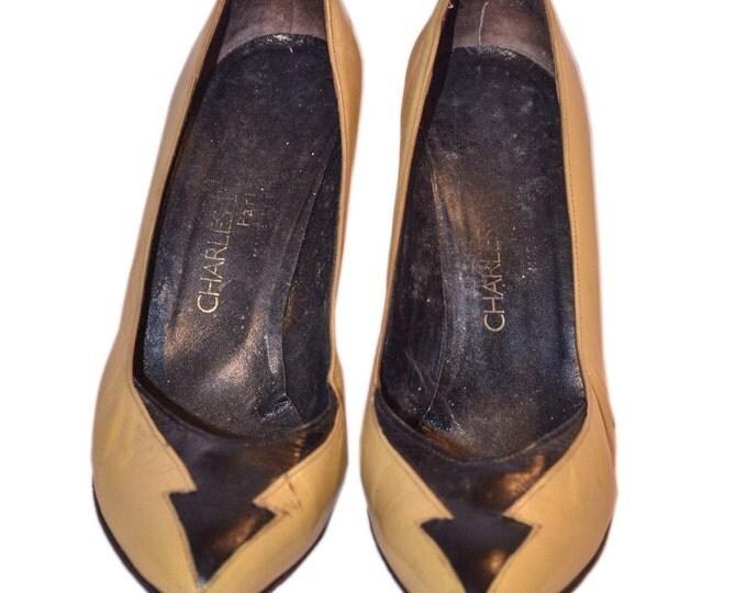 Charles Jourdan Vintage Estate Beige Black Leather Heels Size 7