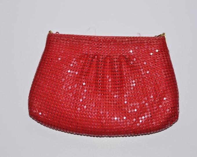 Vintage Estate Red Metal Mesh Clutch