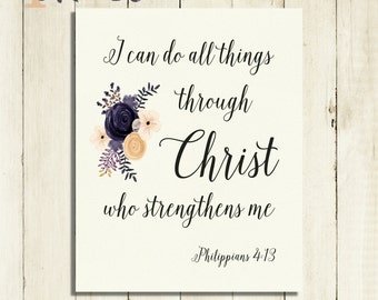 Philippians 4 13 Wall Art print Typography Wall Art Inspirational Print