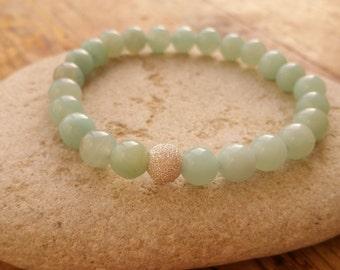 Amazonite Bracelet, Sterling Silver Bracelet, Beaded Bracelet, Stretch Bracelet, Mint Amazonite Bracelet, Green Gemstone Bracelet