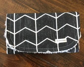 Black Distressed Chevron Burp Cloth