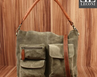 LECONI shoulder bag shoulder bag lady bag leather bag suede green LE0039-VL