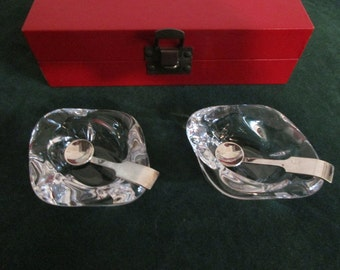 Pair of Cartier Crystal Open Salt Cellars and Spoons in Original Cartier Box