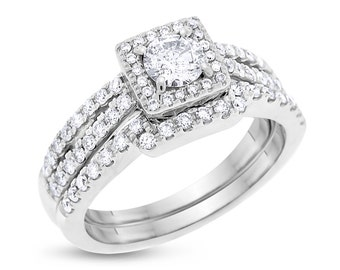 1.05 CT Helzberg Diamond Radiant Star Engagement Ring Set Solid 14k White Gold