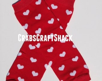 Baby Legwarmers - Hearts White on Red (3512)