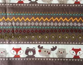 """Camping Critters 100% cotton quilting weight fabric 1 yard and 30"""""""