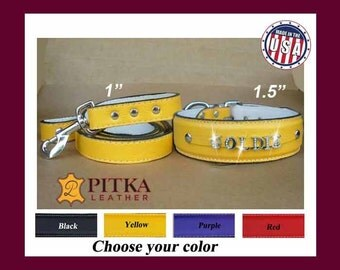 Leather Dog Collar and Leash - Collars and Leashes for Dogs - Yellow Leather Dog Collar and Leash - Designer  Dog Collars and Lashes